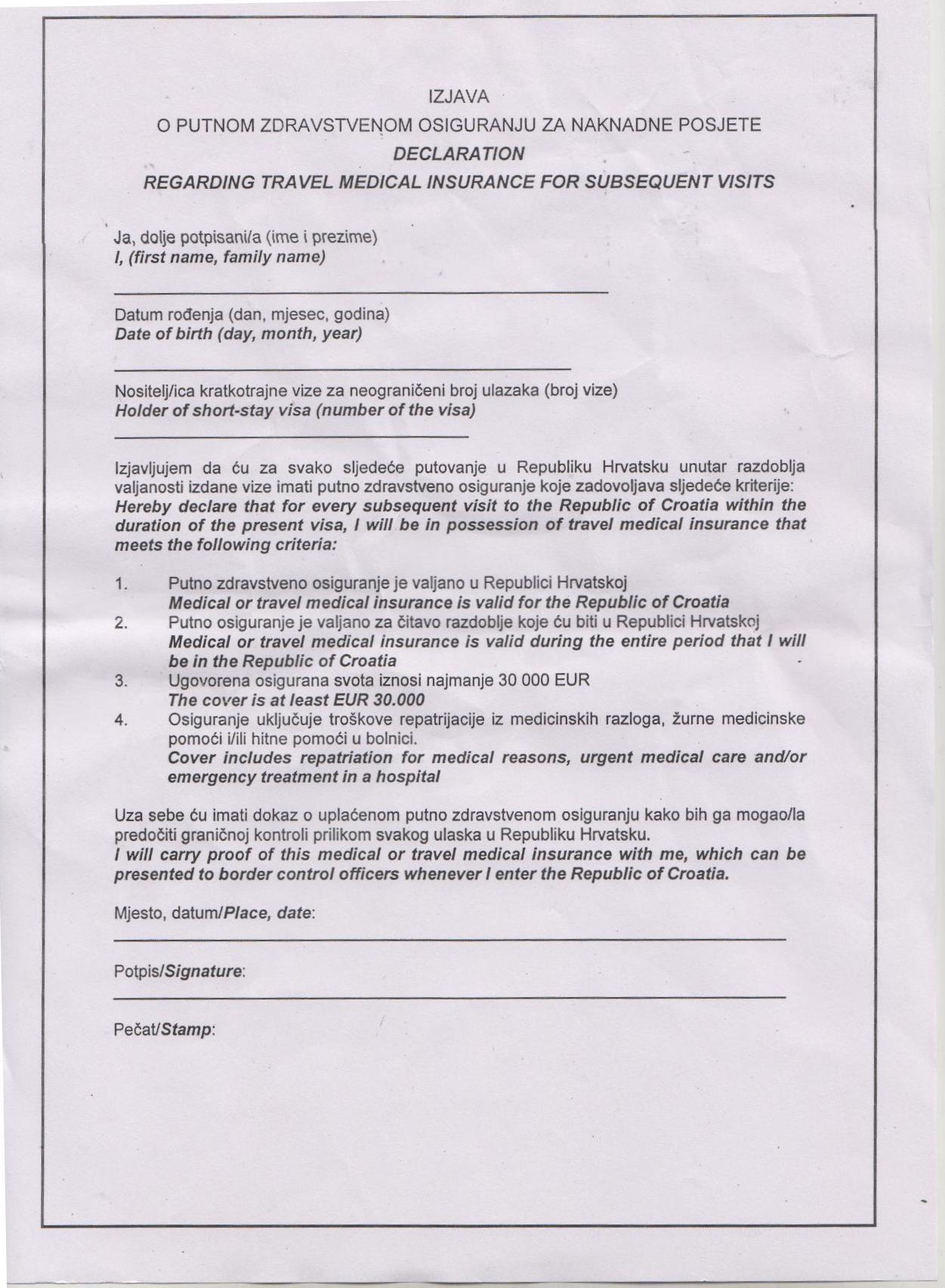 CROTIA-MEDICAL-DECLARATION Online Application Form For Canada Visa on