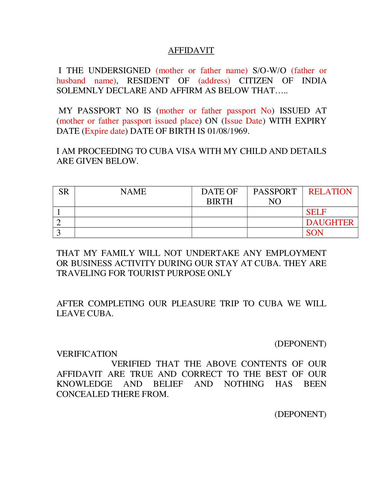 Cuba-Kid-Affidavit-Format Online Indian Visa Application Form For Desh Pdf on